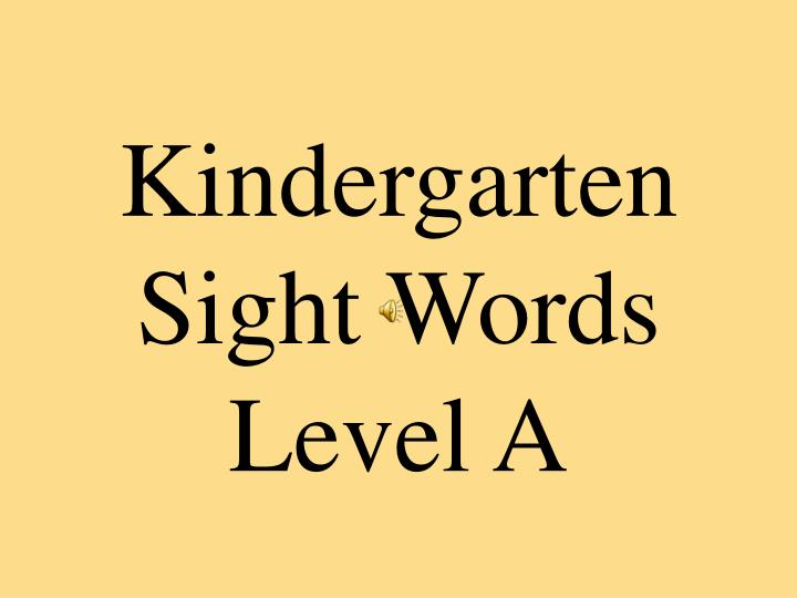 kindergarten sight words level a n.
