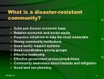 what is a disaster resistant community