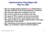 implementation road maps wg plan for 2006