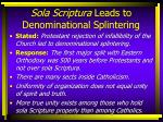 sola scriptura leads to denominational splintering