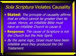 sola scriptura violates causality