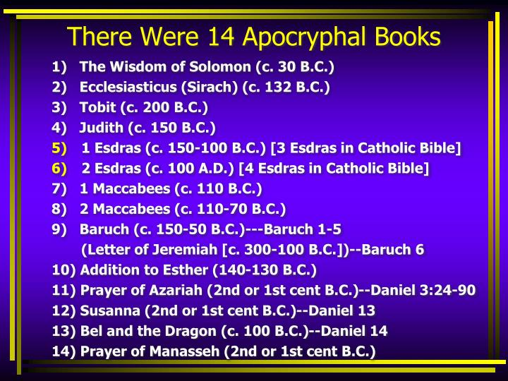 There Were 14 Apocryphal Books
