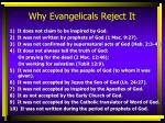 why evangelicals reject it