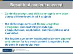 breadth of content covered