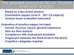 the attained curriculum nc v tourism evaluation process