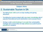 the intended curriculum for the subjects included in the tourism programme