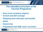 the intended curriculum of the tourism programme