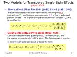 two models for transverse single spin effects
