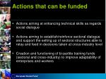 actions that can be funded