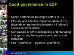 good governance in esf