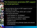 the commission promotes esf support for social partners