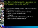 the commission provides guidance on esf support for social partners