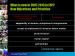 what is new in 2007 2013 in esf new objectives and priorities