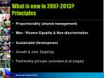 what is new in 2007 2013 principles