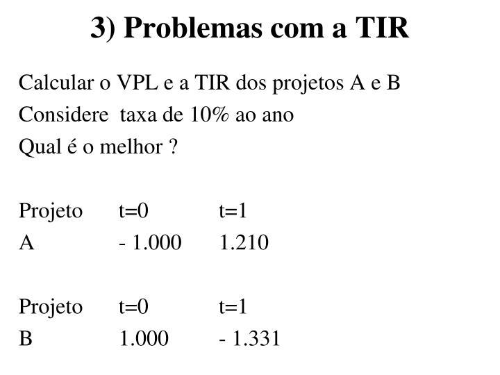 3) Problemas com a TIR