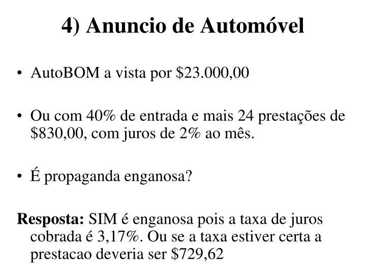 4) Anuncio de Automóvel