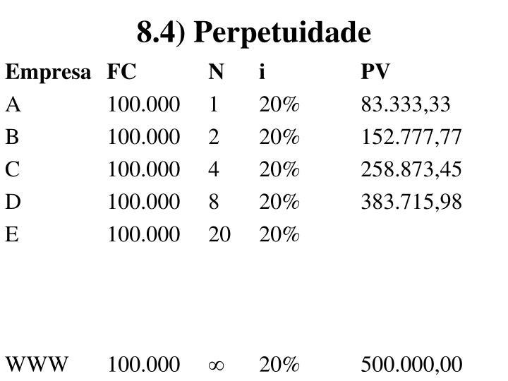 8.4) Perpetuidade