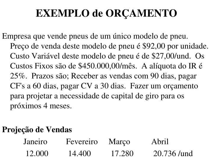 EXEMPLO de ORÇAMENTO