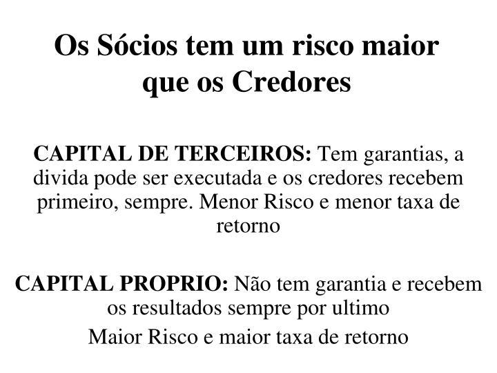 Os Sócios tem um risco maior que os Credores
