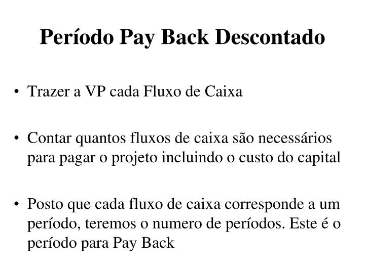 Período Pay Back Descontado