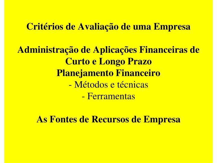 Critérios de Avaliação de uma Empresa