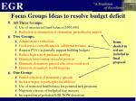 focus groups ideas to resolve budget deficit1