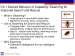 c3 1 desired behavior or capability swarming for improved search and rescue