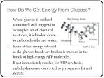 how do we get energy from glucose