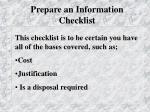prepare an information checklist