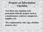 prepare an information checklist1