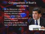 consequences of bush s restrictions