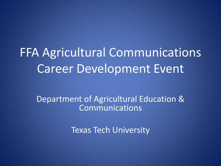 ffa agricultural communications career development event n.