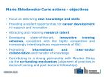 marie sk odowska curie actions objectives
