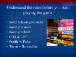 understand the rules before you start playing the game