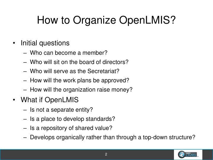 How to organize openlmis