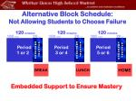 alternative block schedule not allowing students to choose failure