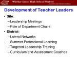 development of teacher leaders