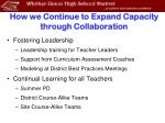 how we continue to expand capacity through collaboration
