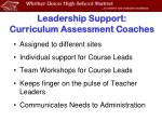 leadership support curriculum assessment coaches