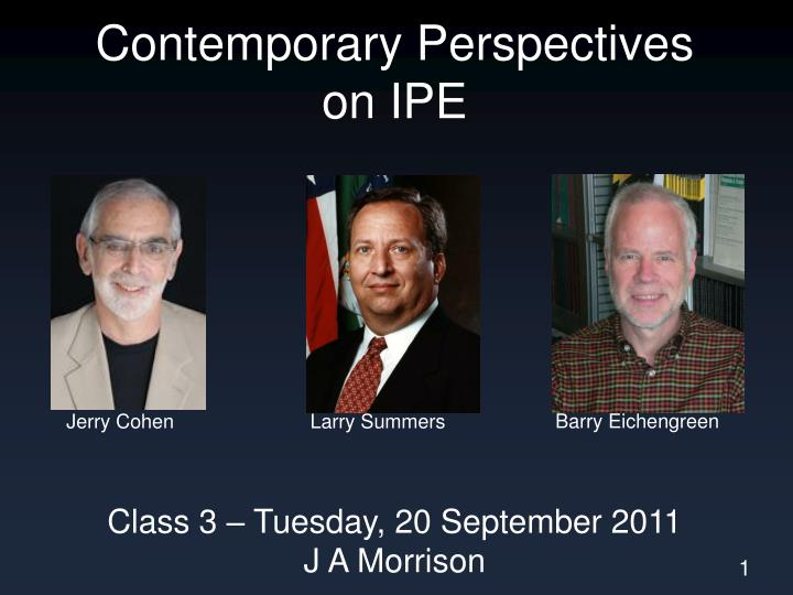 contemporary perspectives on ipe n.