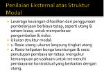 penilaian eksternal atas struktur modal