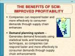 the benefits of scm improved profitability