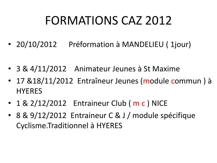 formations caz 2012 n.