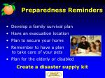 preparedness reminders