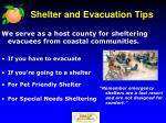 shelter and evacuation tips