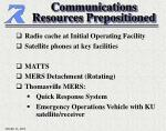 communications resources prepositioned