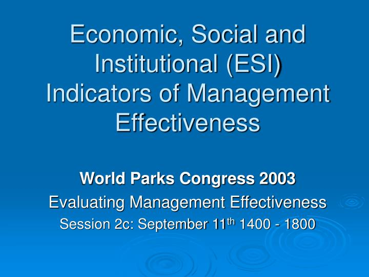 economic social and institutional esi indicators of management effectiveness n.