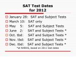 sat test dates for 2012