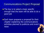 communications project proposal