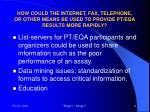 how could the internet fax telephone or other means be used to provide pt eqa results more rapidly1